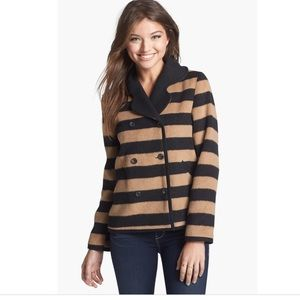 Tulle Stripe Double Breasted Coat
